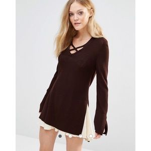 NWT FREE PEOPLE Criss Cross Knitted Sweater